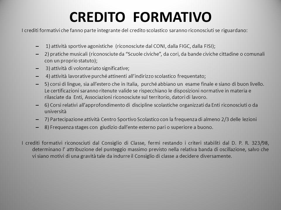 CREDITO FORMATIVO I crediti formativi che fanno parte integrante del credito scolastico saranno riconosciuti se riguardano: