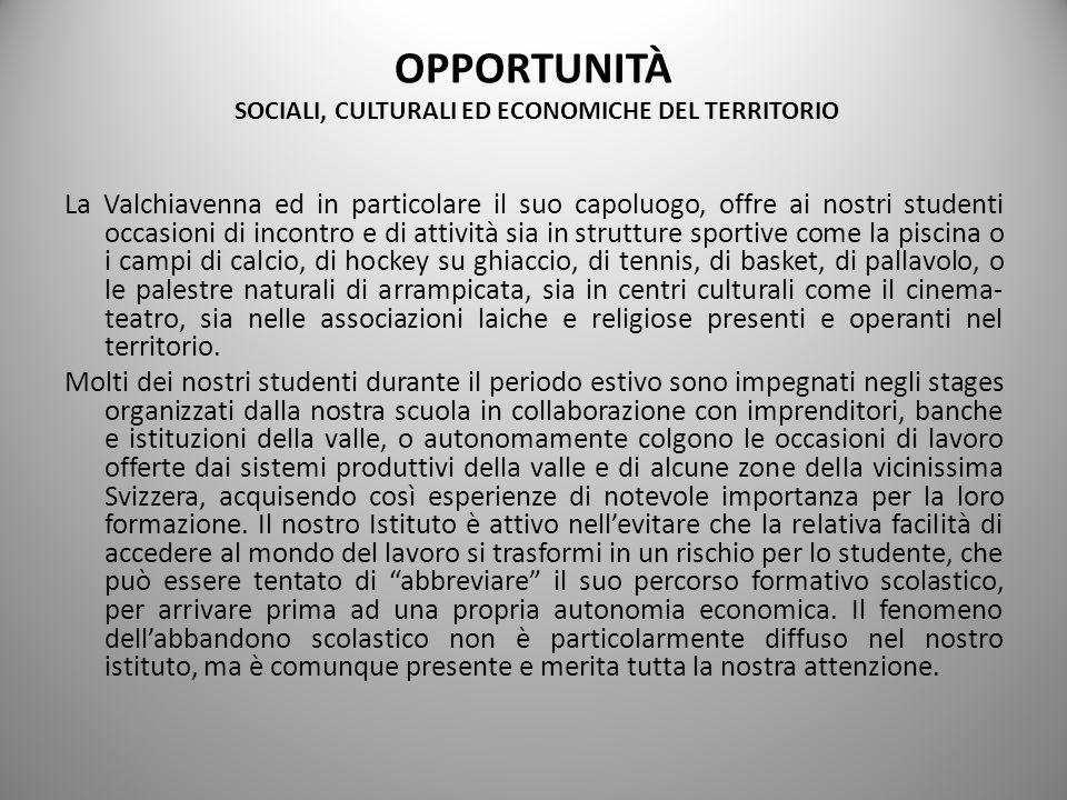 OPPORTUNITÀ SOCIALI, CULTURALI ED ECONOMICHE DEL TERRITORIO