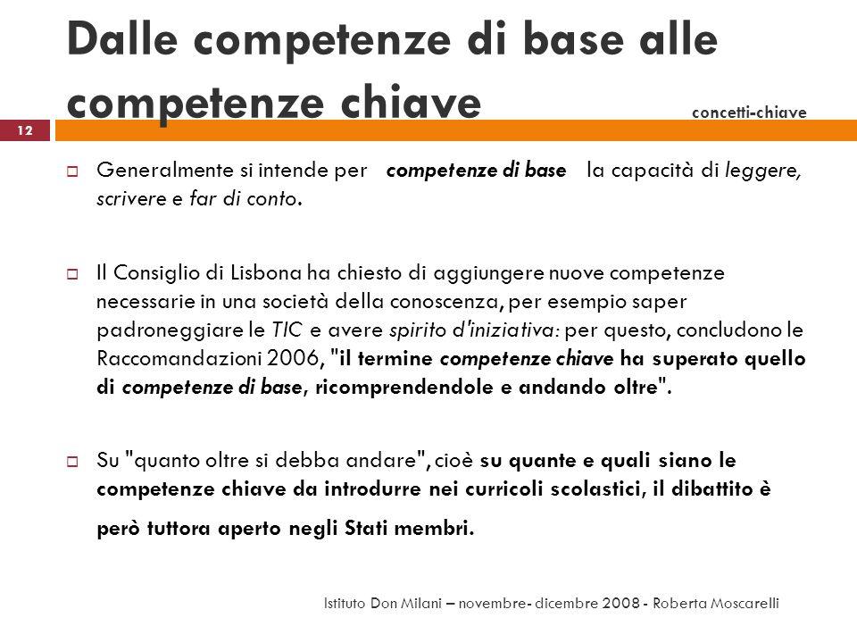 Dalle competenze di base alle competenze chiave concetti-chiave
