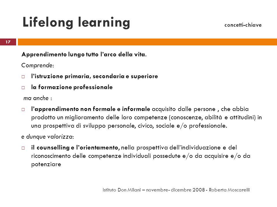 Lifelong learning concetti-chiave