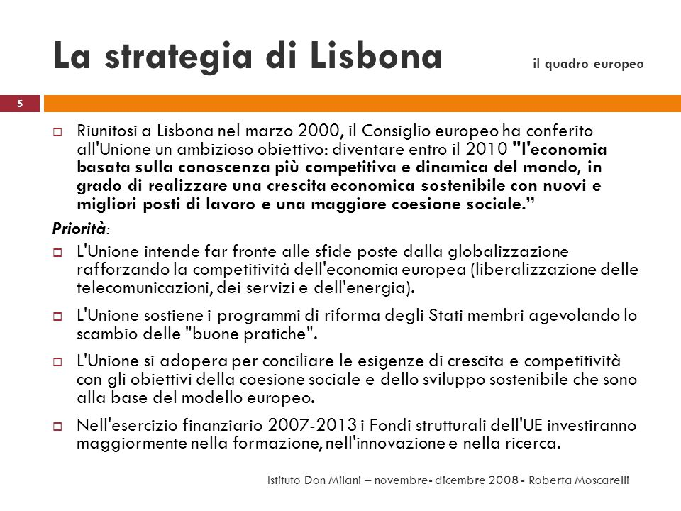 La strategia di Lisbona il quadro europeo