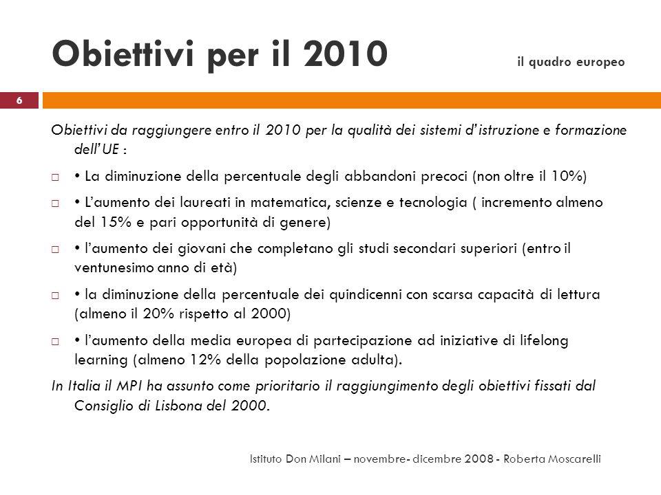 Obiettivi per il 2010 il quadro europeo