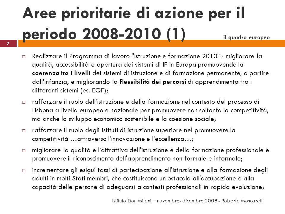 Aree prioritarie di azione per il periodo 2008-2010 (1) il quadro europeo