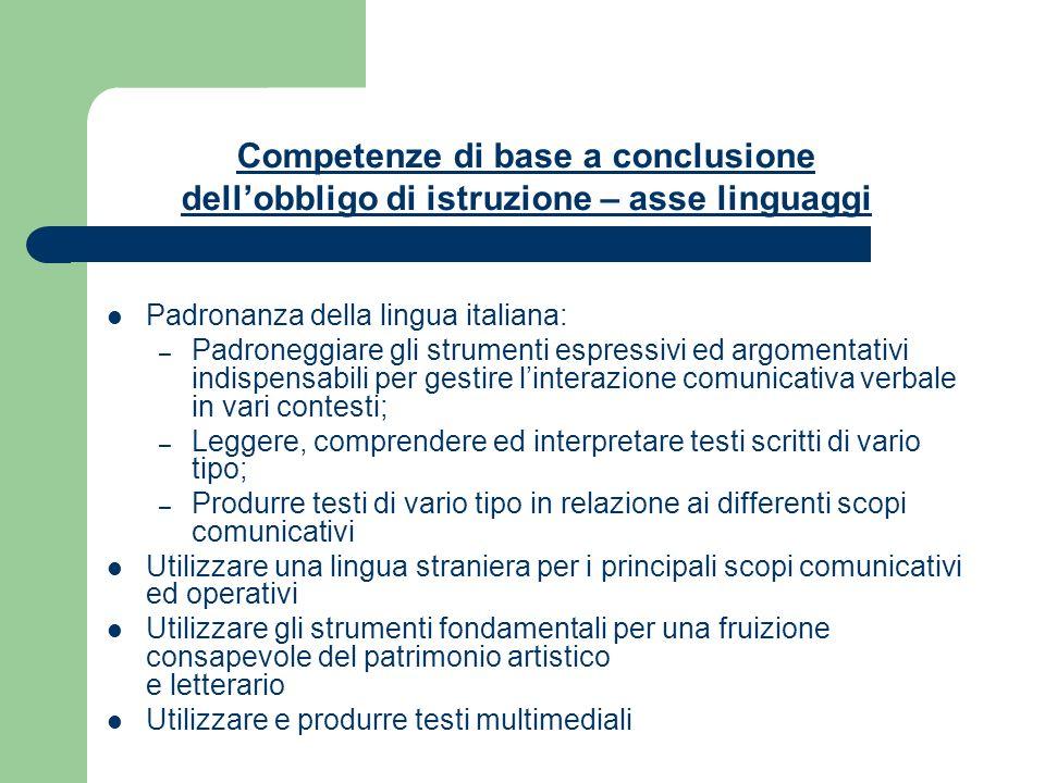 Competenze di base a conclusione dell'obbligo di istruzione – asse linguaggi