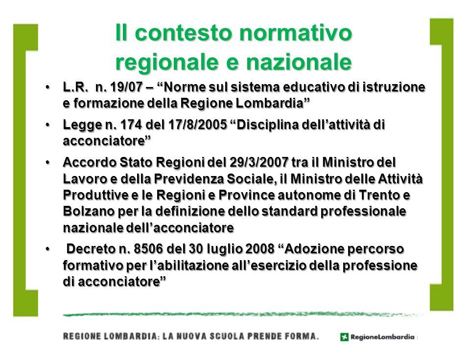 Il contesto normativo regionale e nazionale