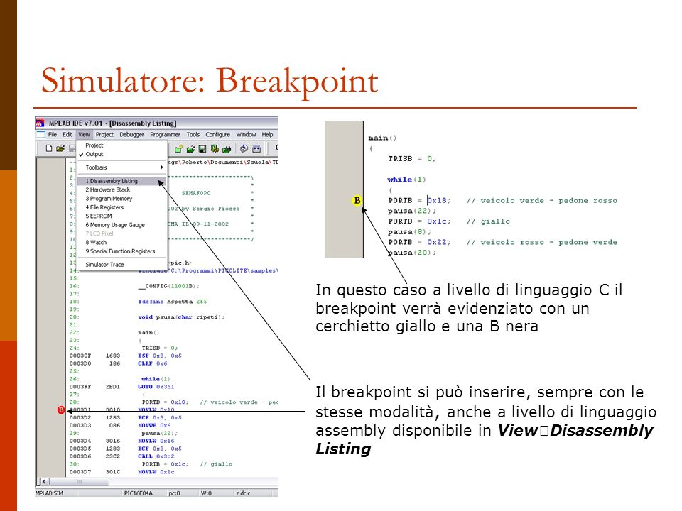 Simulatore: Breakpoint