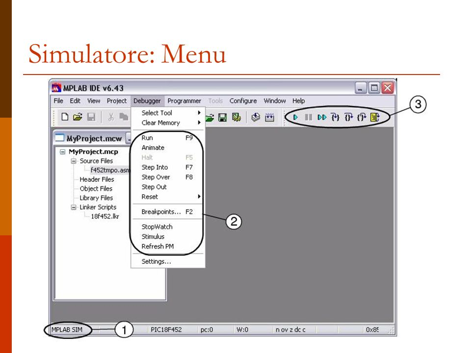 Simulatore: Menu
