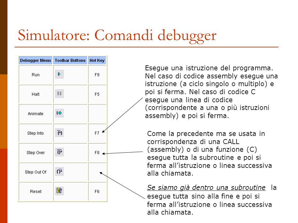 Simulatore: Comandi debugger