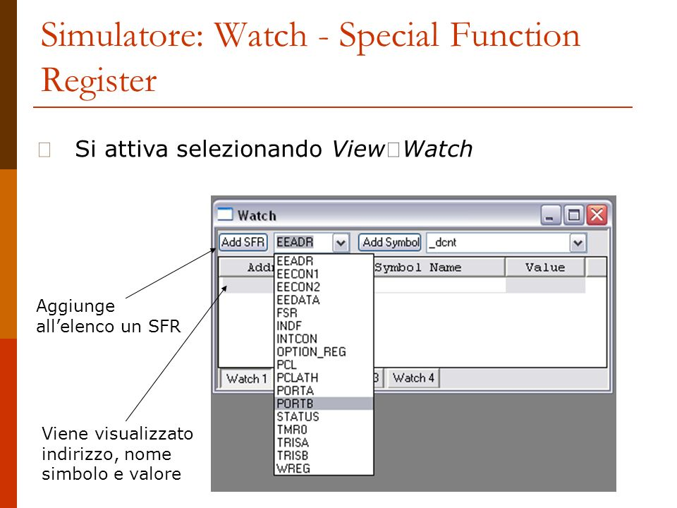 Simulatore: Watch - Special Function Register