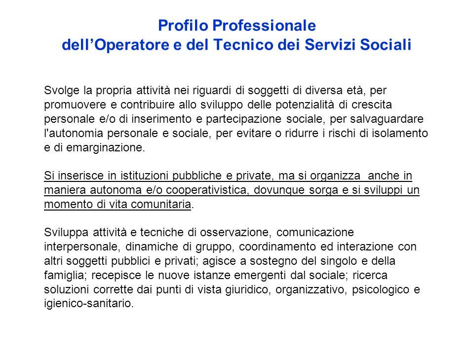 Profilo Professionale dell'Operatore e del Tecnico dei Servizi Sociali