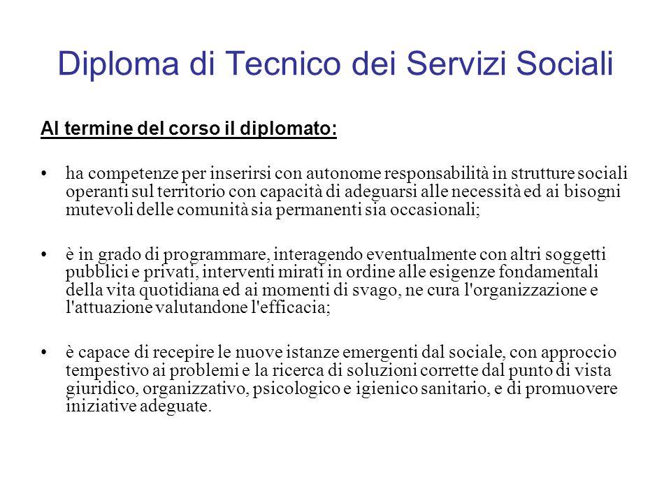 Diploma di Tecnico dei Servizi Sociali