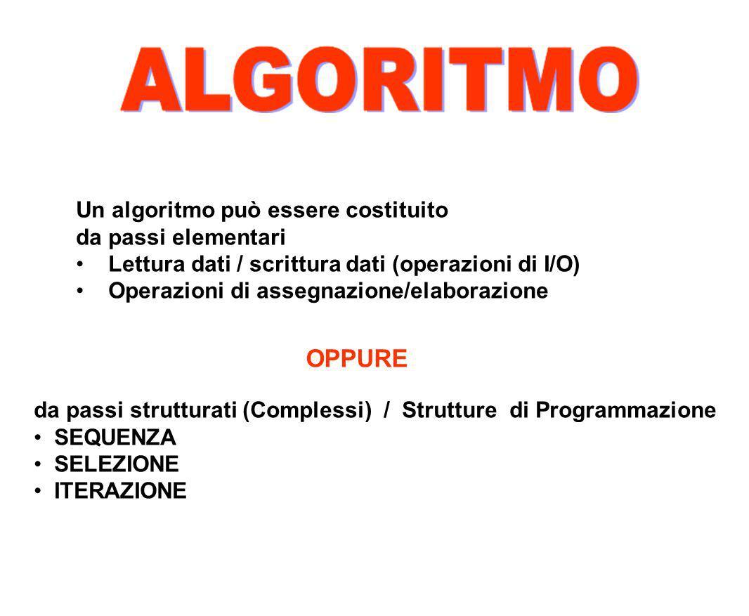 OPPURE Un algoritmo può essere costituito da passi elementari