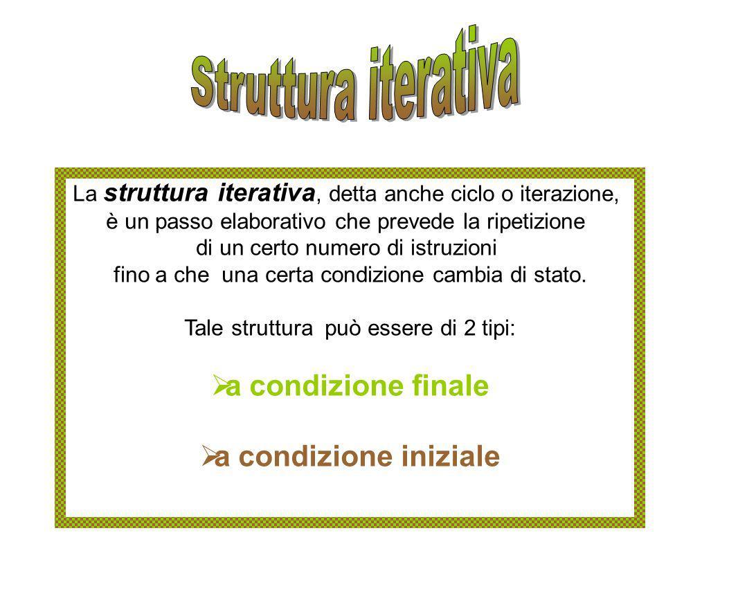 Struttura iterativa a condizione finale a condizione iniziale