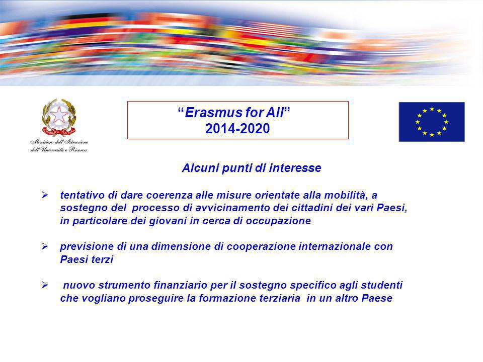Erasmus for All 2014-2020 Alcuni punti di interesse