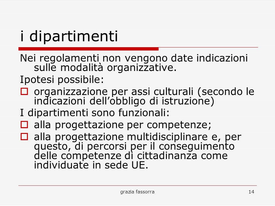 i dipartimenti Nei regolamenti non vengono date indicazioni sulle modalità organizzative. Ipotesi possibile: