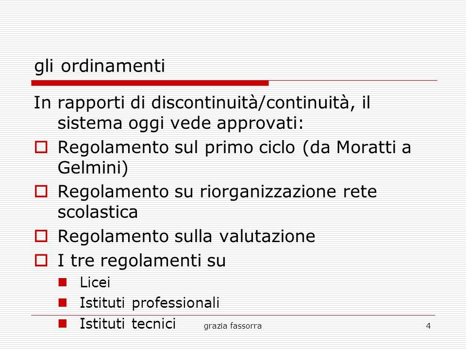 gli ordinamenti In rapporti di discontinuità/continuità, il sistema oggi vede approvati: Regolamento sul primo ciclo (da Moratti a Gelmini)