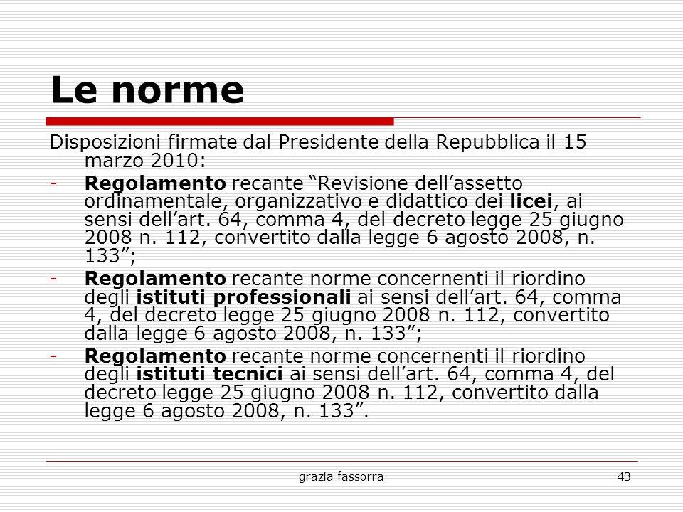 Le norme Disposizioni firmate dal Presidente della Repubblica il 15 marzo 2010: