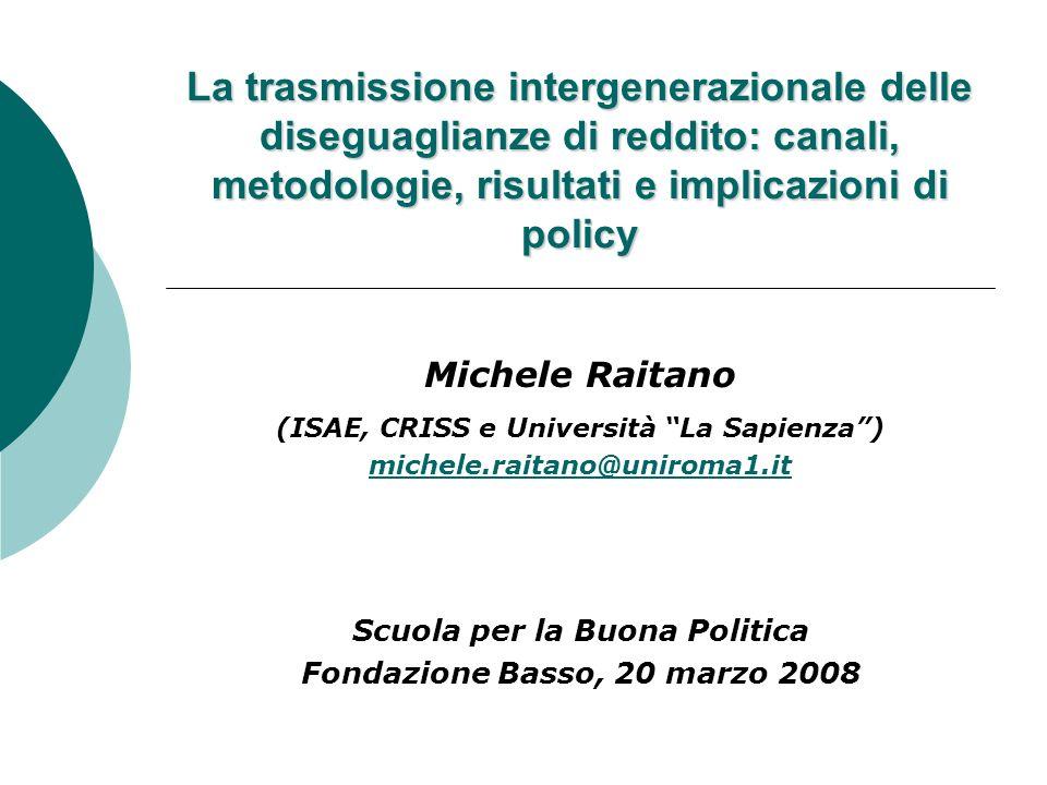 La trasmissione intergenerazionale delle diseguaglianze di reddito: canali, metodologie, risultati e implicazioni di policy