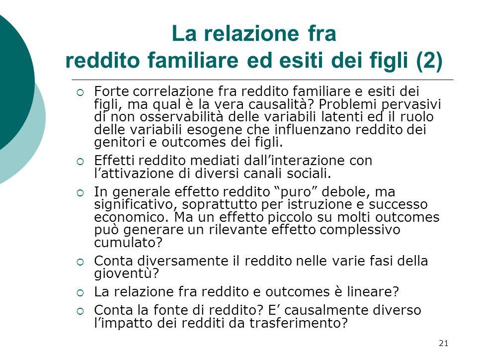 La relazione fra reddito familiare ed esiti dei figli (2)