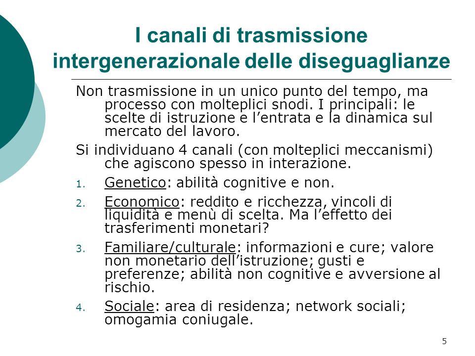I canali di trasmissione intergenerazionale delle diseguaglianze