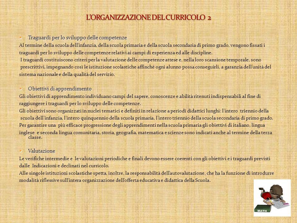 L'ORGANIZZAZIONE DEL CURRICOLO 2