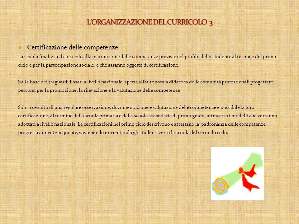 L'ORGANIZZAZIONE DEL CURRICOLO 3