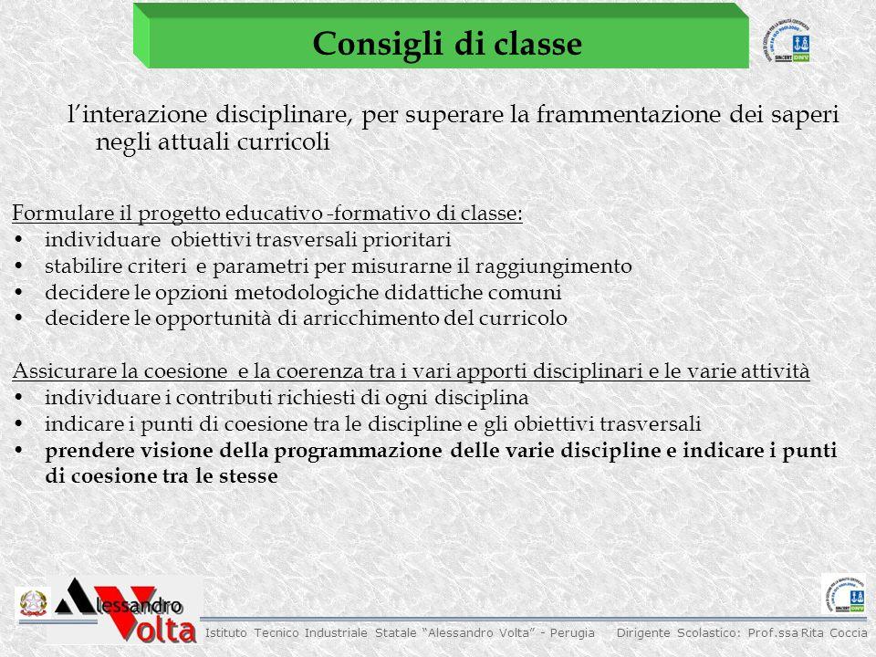 Consigli di classe l'interazione disciplinare, per superare la frammentazione dei saperi negli attuali curricoli.