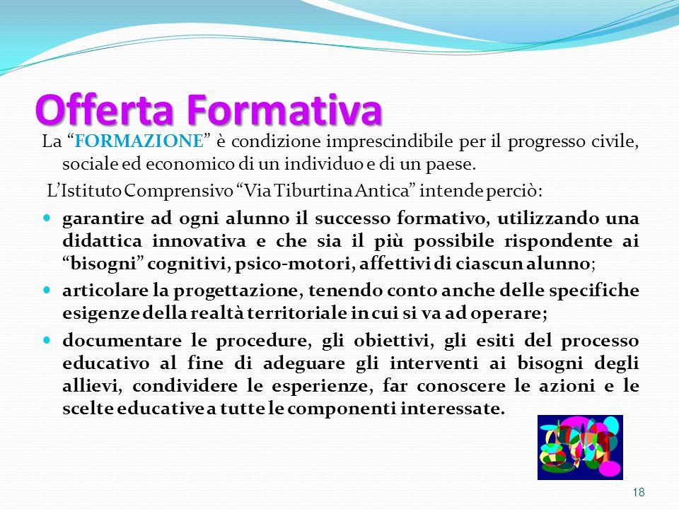 Offerta Formativa La FORMAZIONE è condizione imprescindibile per il progresso civile, sociale ed economico di un individuo e di un paese.