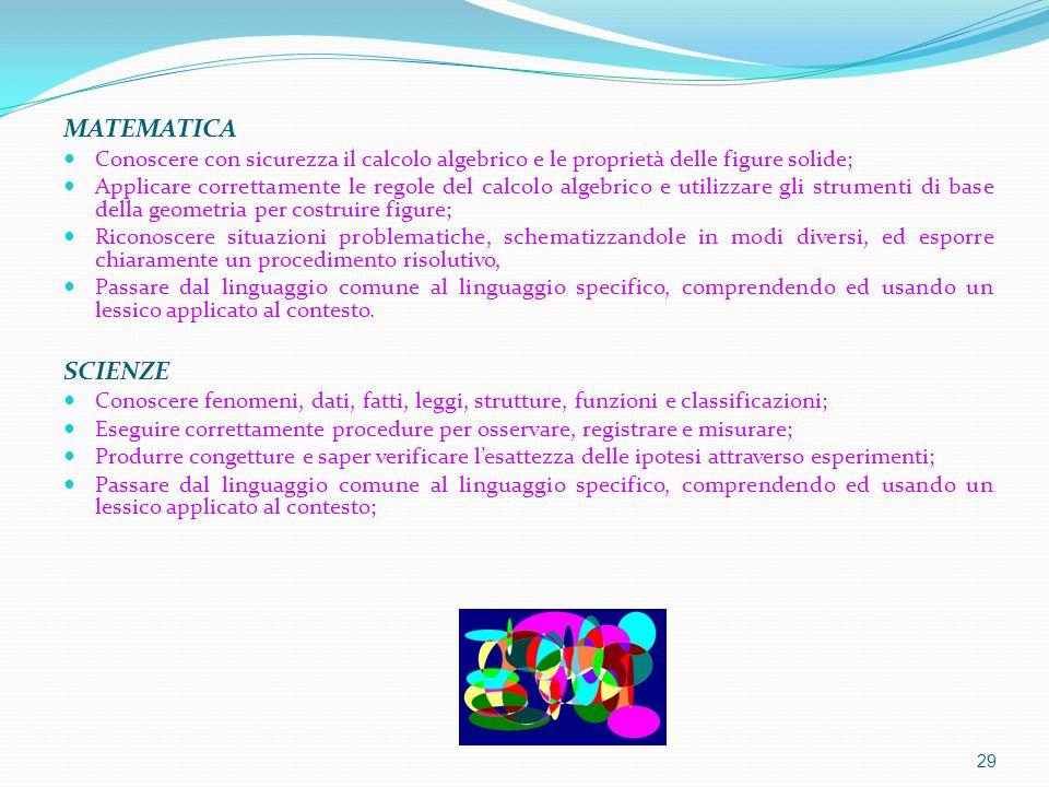 MATEMATICA Conoscere con sicurezza il calcolo algebrico e le proprietà delle figure solide;