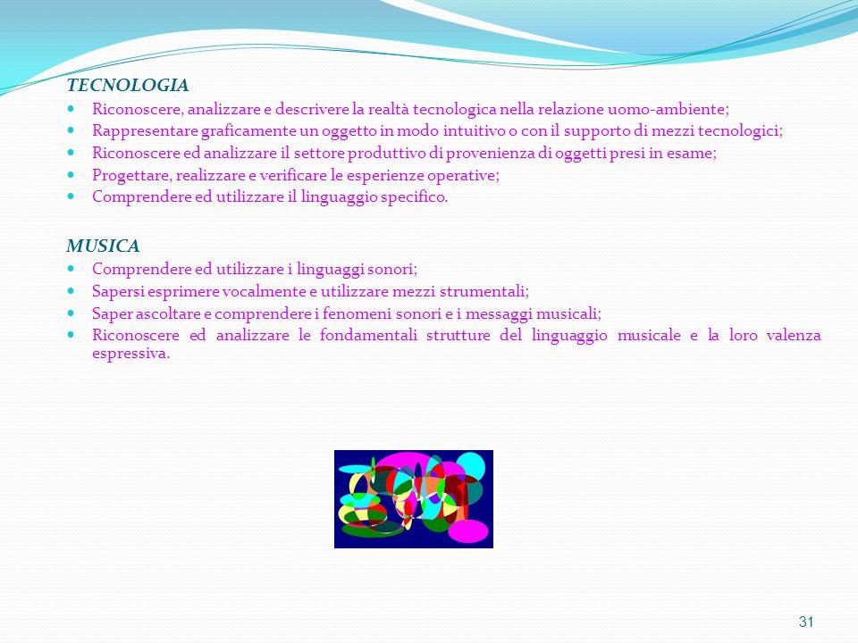 TECNOLOGIA Riconoscere, analizzare e descrivere la realtà tecnologica nella relazione uomo-ambiente;