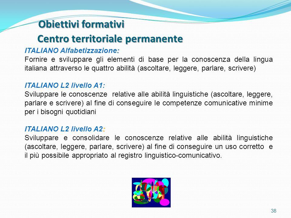 Obiettivi formativi Centro territoriale permanente