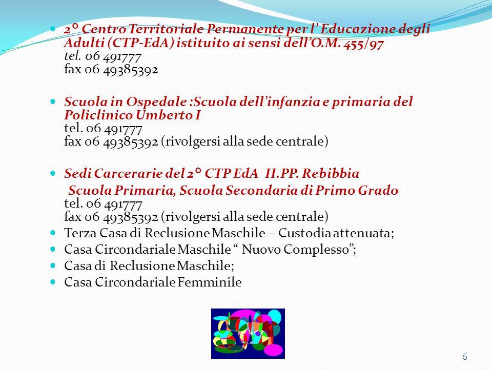 2° Centro Territoriale Permanente per l' Educazione degli Adulti (CTP-EdA) istituito ai sensi dell'O.M. 455/97 tel. 06 491777 fax 06 49385392