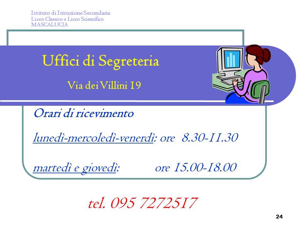 Uffici di Segreteria tel. 095 7272517 Orari di ricevimento