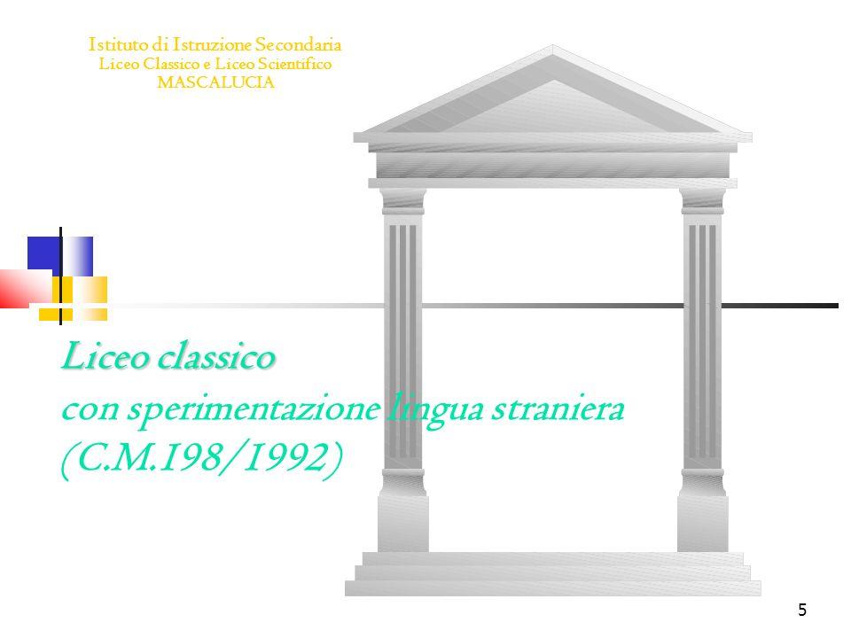 Liceo classico con sperimentazione lingua straniera (C.M.198/1992)