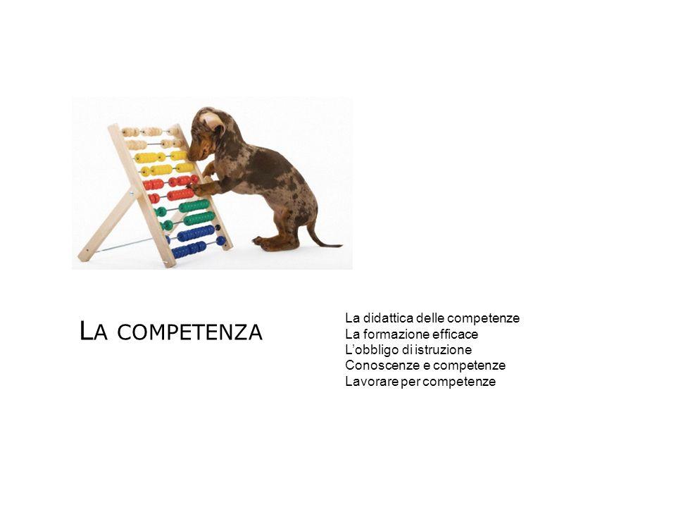 La competenza La didattica delle competenze La formazione efficace