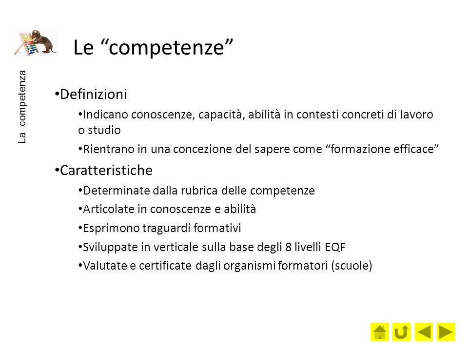 Le competenze Definizioni Caratteristiche