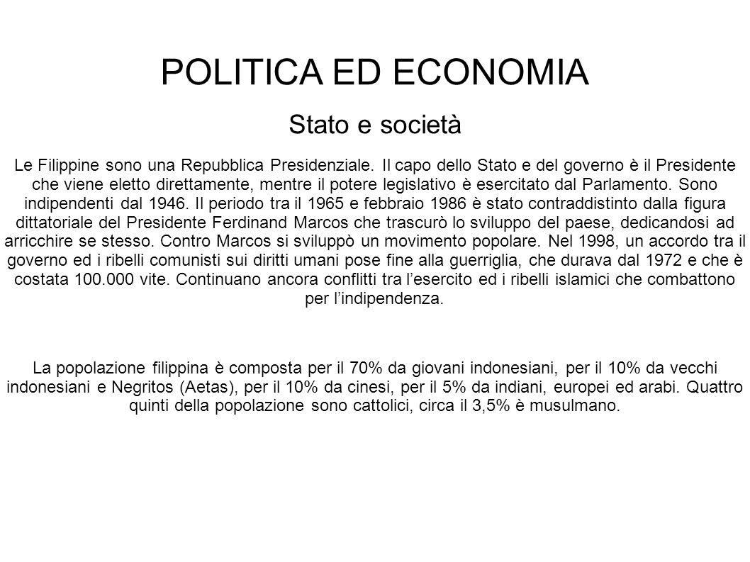POLITICA ED ECONOMIA Stato e società