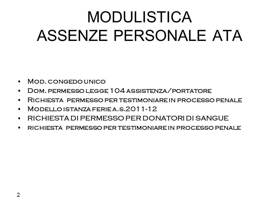 MODULISTICA ASSENZE PERSONALE ATA