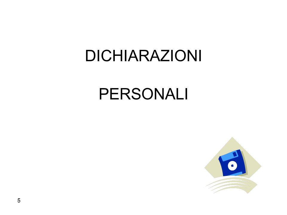 DICHIARAZIONI PERSONALI