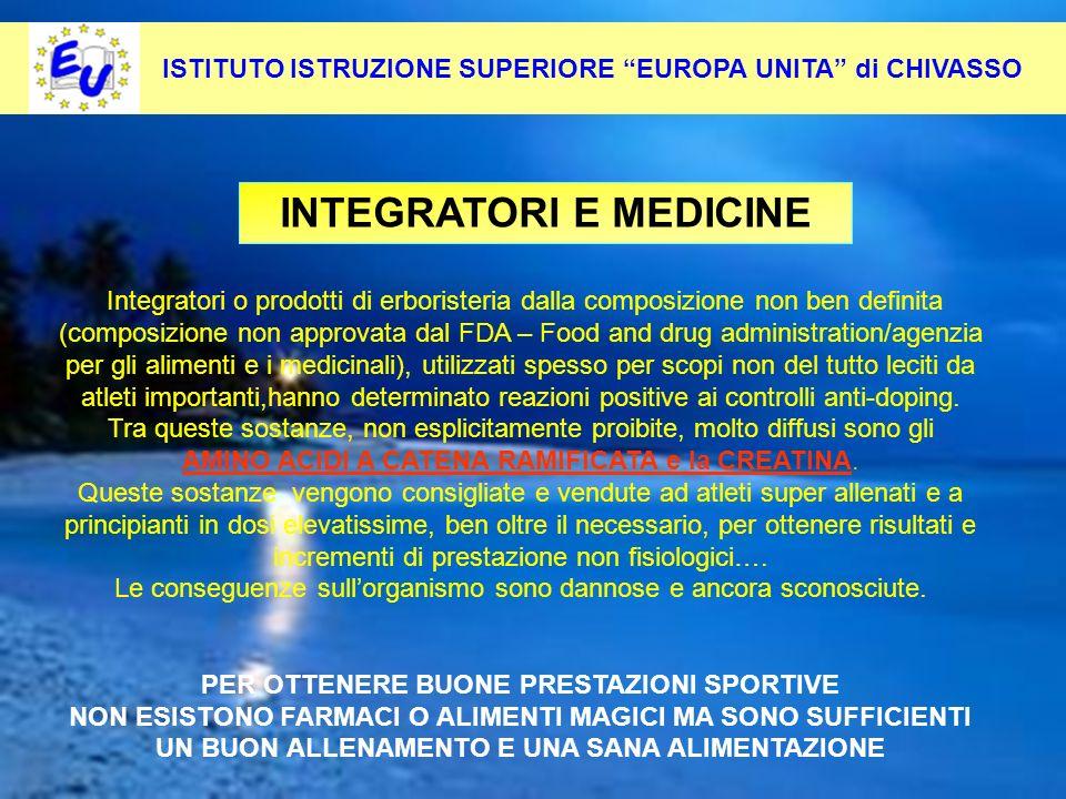 INTEGRATORI E MEDICINE