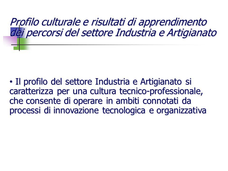 Profilo culturale e risultati di apprendimento dei percorsi del settore Industria e Artigianato