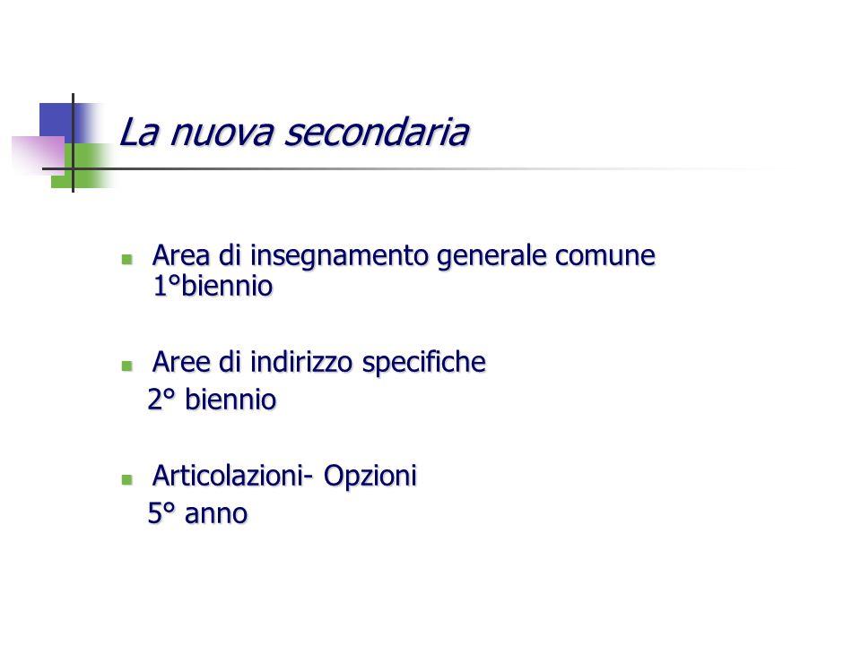 La nuova secondaria Area di insegnamento generale comune 1°biennio