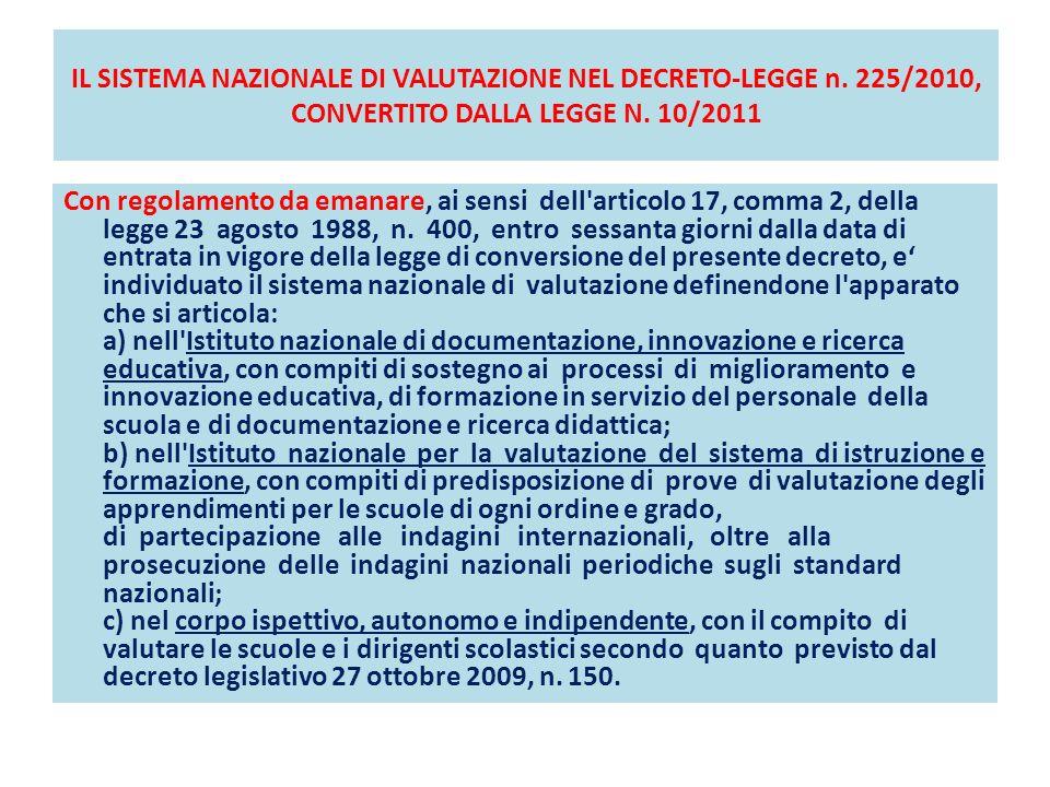 IL SISTEMA NAZIONALE DI VALUTAZIONE NEL DECRETO-LEGGE n