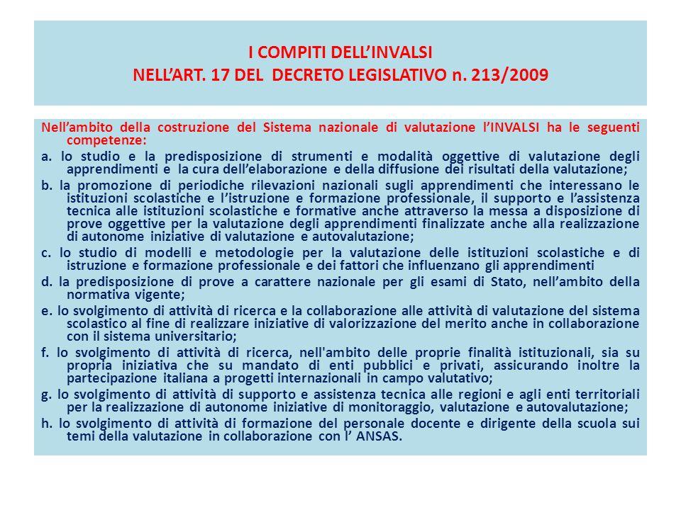 I COMPITI DELL'INVALSI NELL'ART. 17 DEL DECRETO LEGISLATIVO n. 213/2009