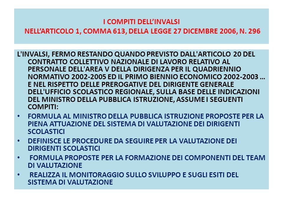 I COMPITI DELL'INVALSI NELL'ARTICOLO 1, COMMA 613, DELLA LEGGE 27 DICEMBRE 2006, N. 296