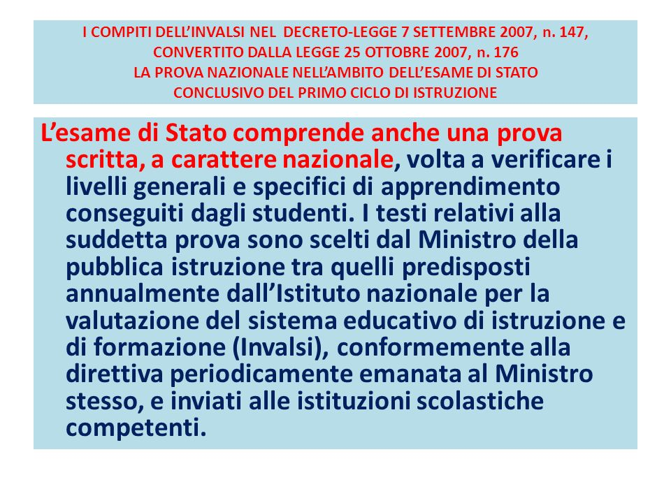 I COMPITI DELL'INVALSI NEL DECRETO-LEGGE 7 SETTEMBRE 2007, n