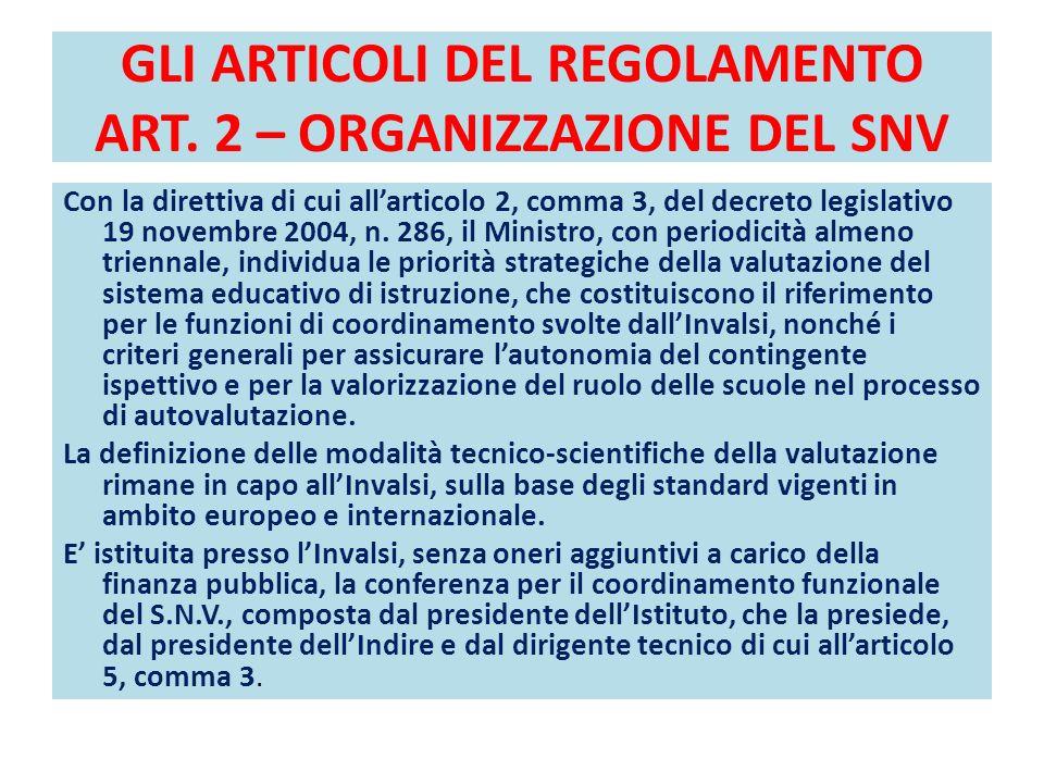 GLI ARTICOLI DEL REGOLAMENTO ART. 2 – ORGANIZZAZIONE DEL SNV