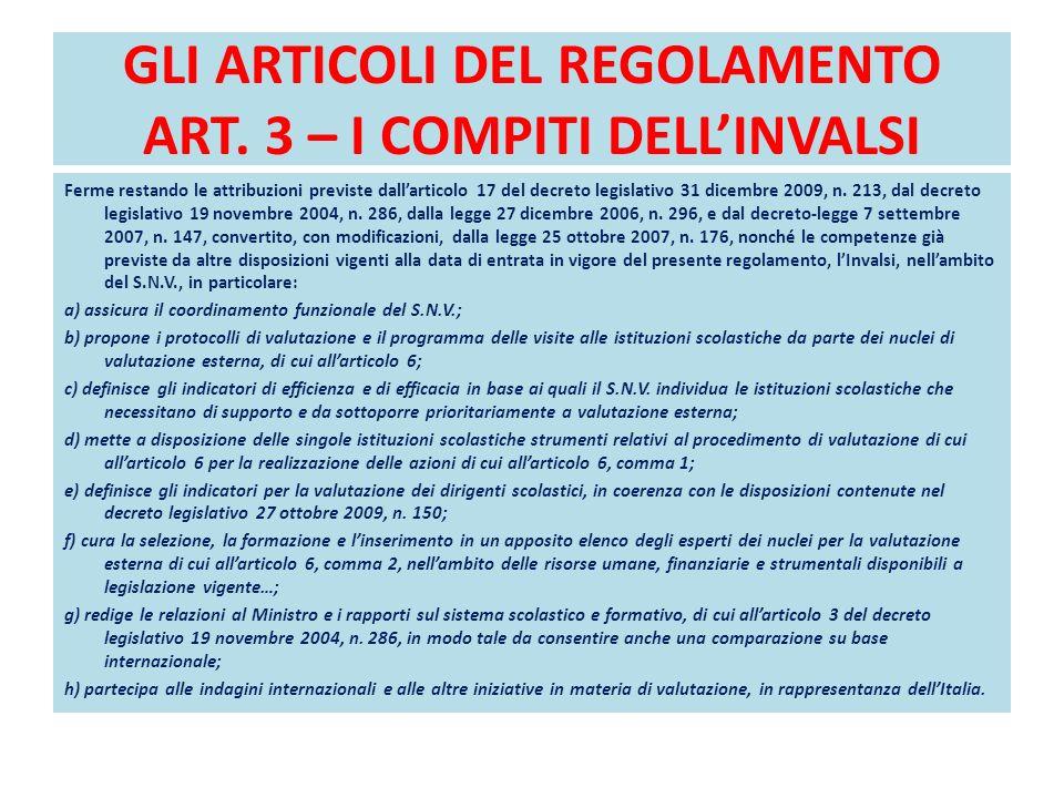 GLI ARTICOLI DEL REGOLAMENTO ART. 3 – I COMPITI DELL'INVALSI