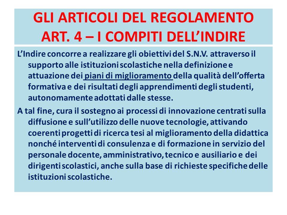 GLI ARTICOLI DEL REGOLAMENTO ART. 4 – I COMPITI DELL'INDIRE