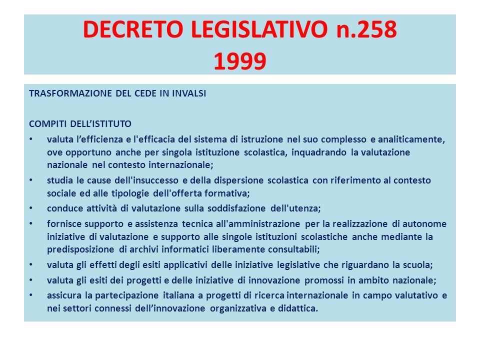 DECRETO LEGISLATIVO n.258 1999 TRASFORMAZIONE DEL CEDE IN INVALSI